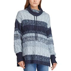 Women's Chaps Striped Cable-Knit Funnelneck Sweater