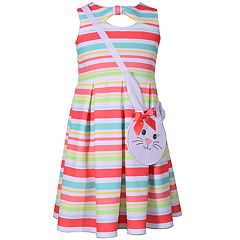 Girls 4-6x Bonnie Jean Striped Pleated Dress & Bunny Purse Set
