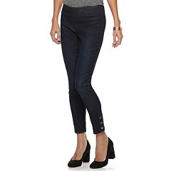 Women's Dana Buchman Button-Hem Pull On Ankle Jeans