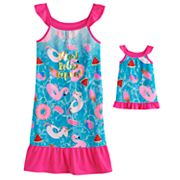 Girls 4-14 SO® Flutter Sleeve Dorm Nightgown & Matching Doll Gown