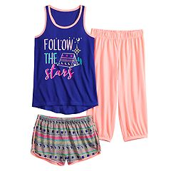 7154d46df Girls 4-16 SO® Raceback Tank Top, Shorts & Pants Pajama Set
