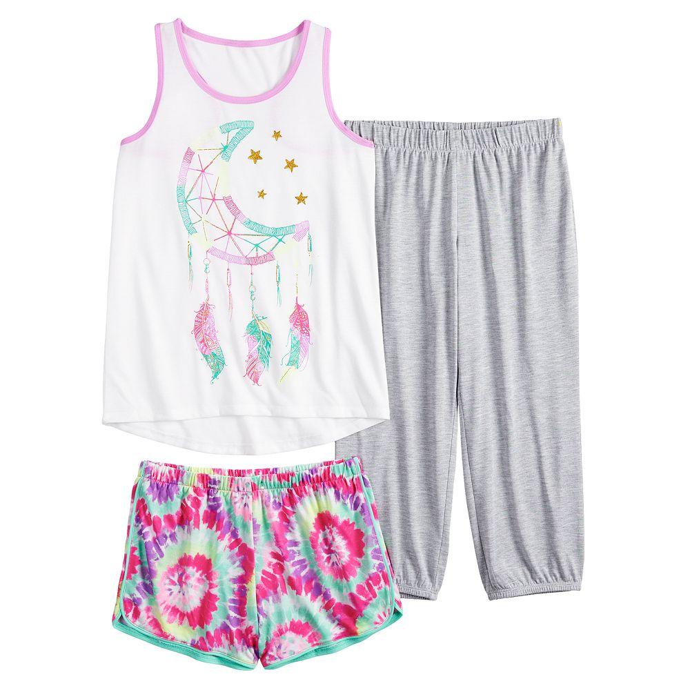 Girls 4-16 SO® Raceback Tank Top, Shorts & Pants Pajama Set