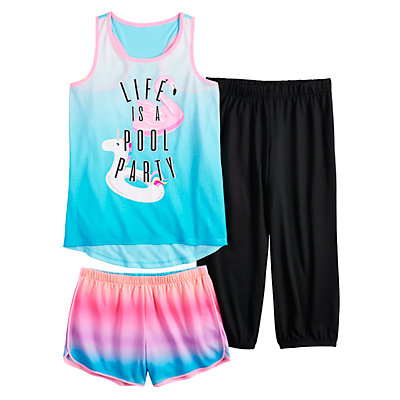 Girls 4-16 SO® Raceback Tank Top, Shorts & Pants Pajama Set