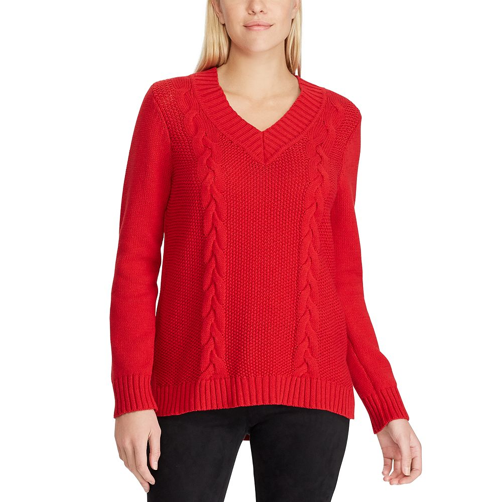 Women's Chaps Cable-Knit High Low Hem Sweater