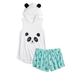 Girls 4-14 SO® Critter Hoodie & Shorts Pajama Set