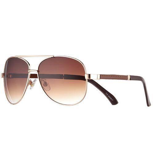 Men's Apt. 9® Gold Aviator Gradient Sunglasses