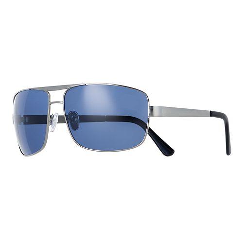 Men's Apt. 9® Blue Smoke Satin Silver Sunglasses
