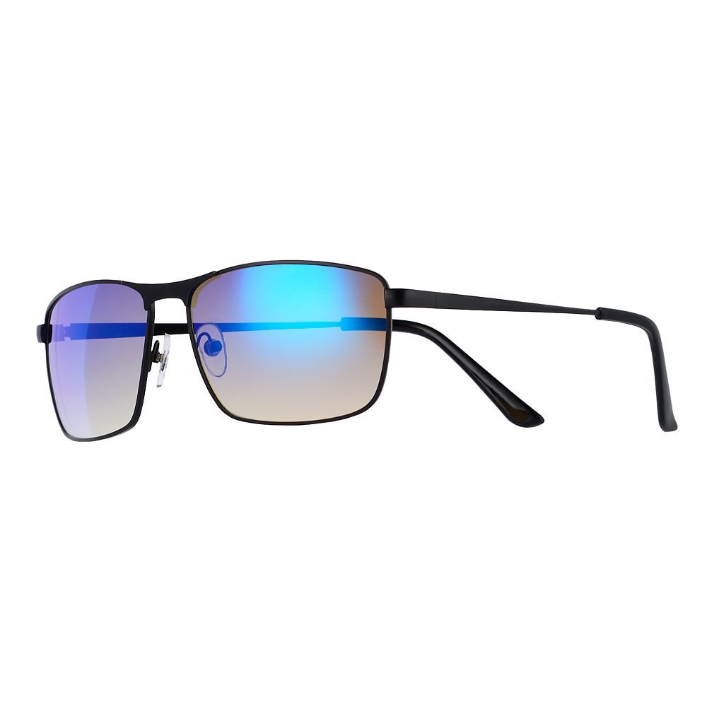 Men's Apt. 9® Matte Black Blue Mirror Sunglasses