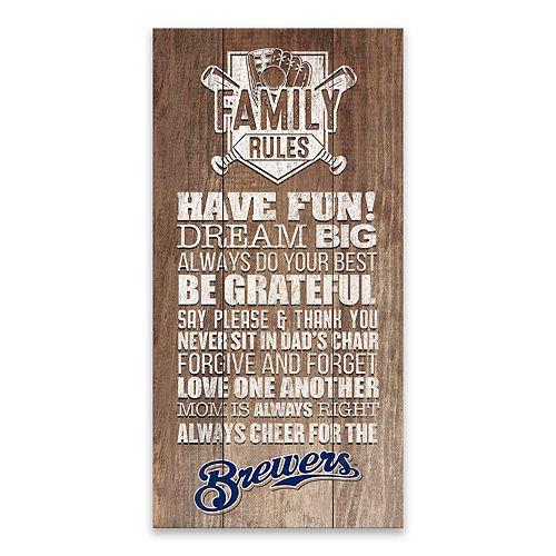 Milwaukee Brewers Family Rules Canvas Wall Art