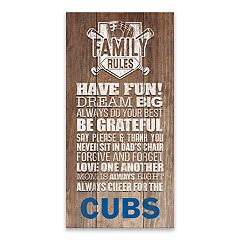 Chicago Cubs Family Rules Canvas Wall Art