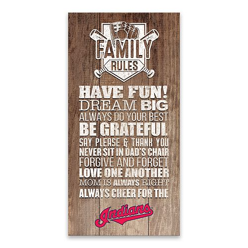 Cleveland Indians Family Rules Canvas Wall Art