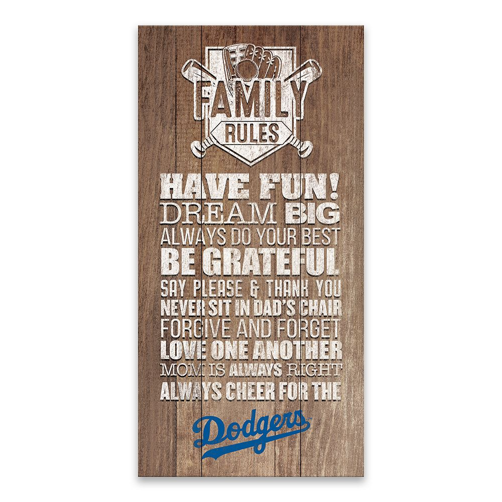 Los Angeles Dodgers Family Rules Canvas Wall Art