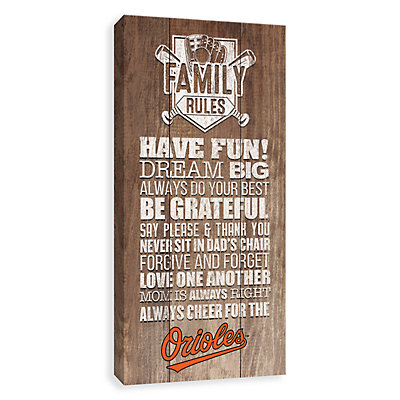 Baltimore Orioles Family Rules Canvas Wall Art