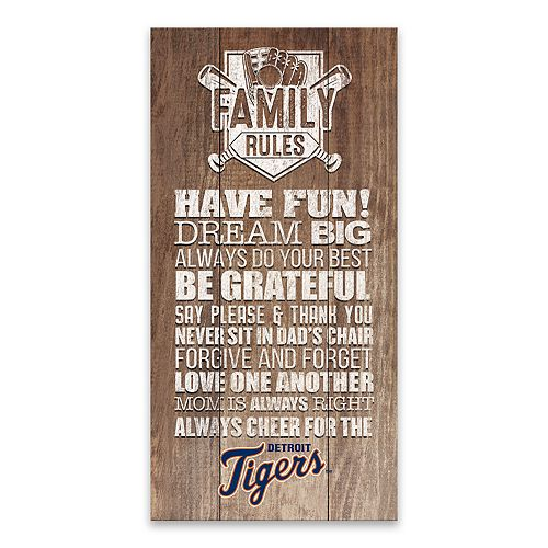 Detroit Tigers Family Rules Canvas Wall Art