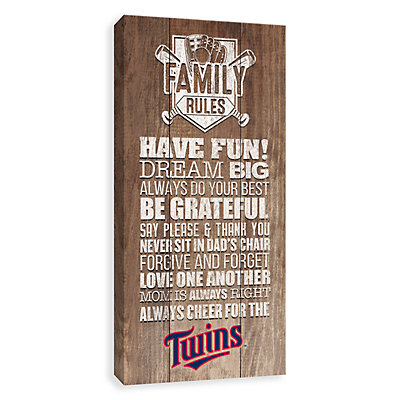 Minnesota Twins Family Rules Canvas Wall Art