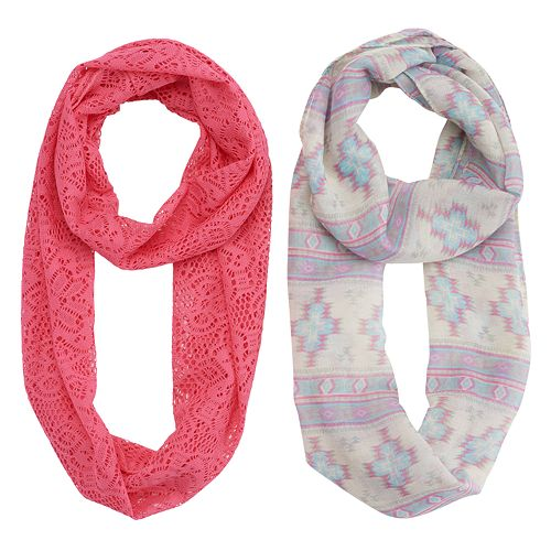 Girls 4-16 2-pk. Tribal Print & Knit Lace Infinity Scarves