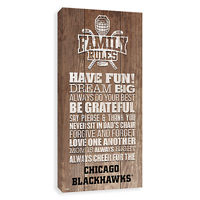 Chicago Blackhawks Family Rules Canvas Wall Art