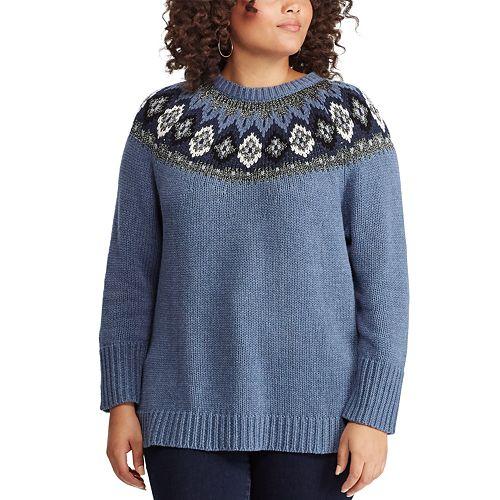 superior quality good texture Sales promotion Plus Size Chaps Fairisle Sweater