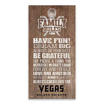 Vegas Golden Knights Family Rules Canvas Wall Art