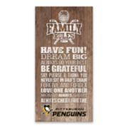 Pittsburgh Penguins Family Rules Canvas Wall Art