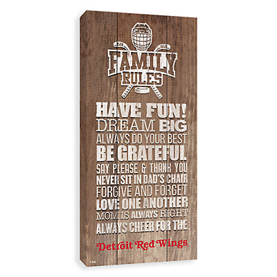 Detroit Red Wings Family Rules Canvas Wall Art