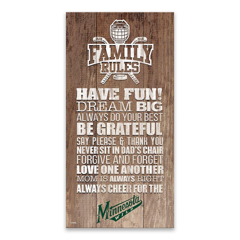Minnesota Wild Family Rules Canvas Wall Art