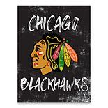 Chicago Blackhawks Grunge Canvas Wall Art