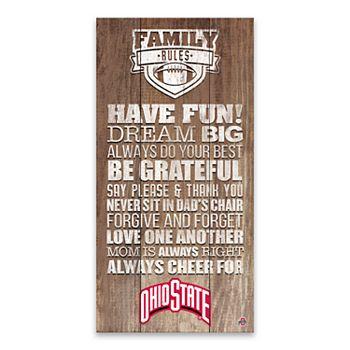 Ohio State Buckeyes Family Rules Canvas Wall Art