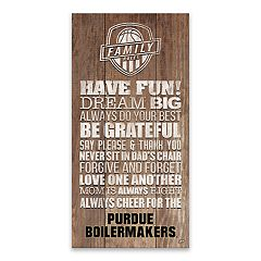 Purdue Boilermakers Family Rules Canvas Wall Art