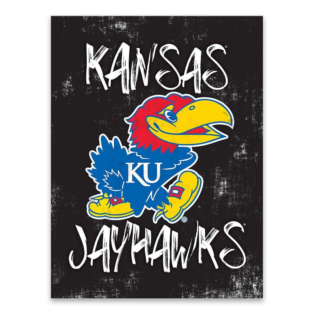 Kansas Jayhawks Grunge Canvas Wall Art
