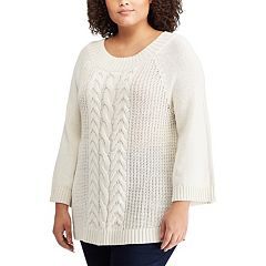 Plus Size Chaps Cable-Knit Bell Sleve Sweater