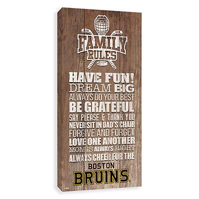 Boston Bruins Family Rules Canvas Wall Art