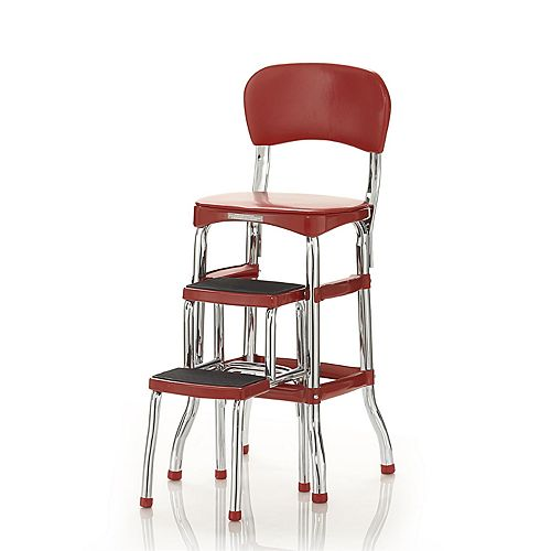 COSCO Retro Red Counter Chair & Step Stool