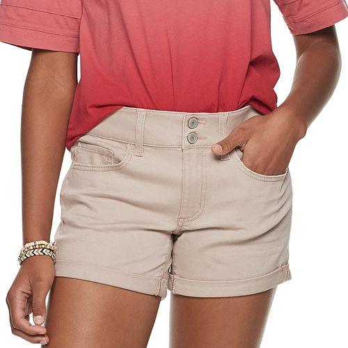 448ec1cce Juniors' SO® 2-button Denim Midi Shorts