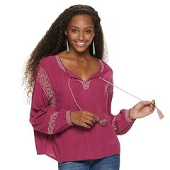 Juniors' Mudd® Embroidered Gauze Peasant Top