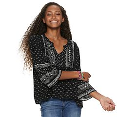 Juniors' Mudd® Patterned Split-Neck Peasant Top
