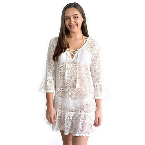 Juniors' Miken Bell Sleeve Crochet Swimsuit Cover-Up