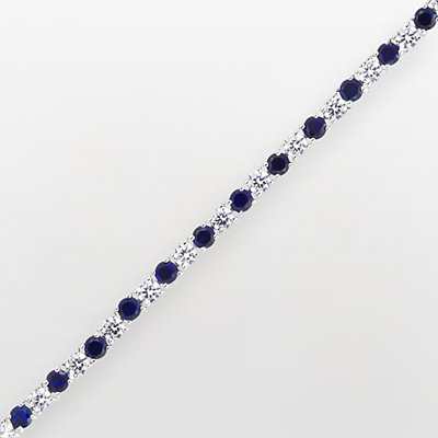 DiamonLuxe Sterling Silver 6 2/5-ct. T.W. Simulated Diamond and Simulated Sapphire Tennis Bracelet