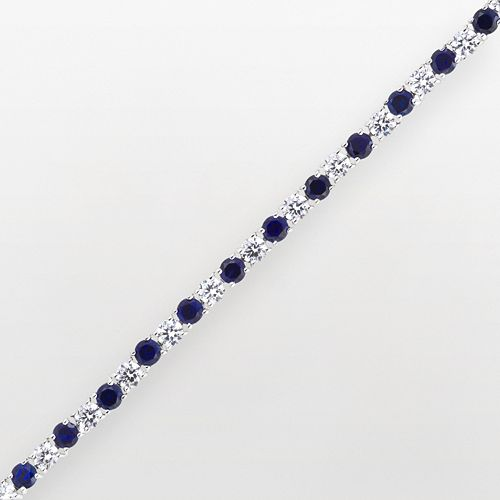 DiamonLuxe Sterling Silver 6 2/5-ct. T.W. Simulated Diamond & Simulated Sapphire Tennis Bracelet