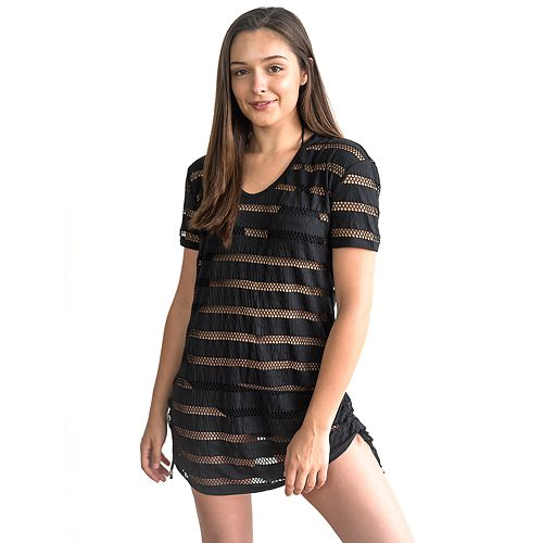 Juniors' Miken Jacquard Jersey Ruched Side Hooded Cover-Up