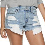 Juniors' Mudd® Destructed High-Rise Jean Shorts
