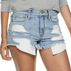 Juniors' Mudd® Destructed High-Rise Jean Shorts
