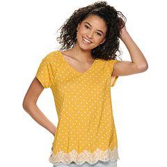 Juniors' Rewind Short Sleeve Crochet Lace Trim Top