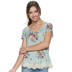 064e510806404 Juniors  Rewind Short Sleeve Crochet Lace Trim Top