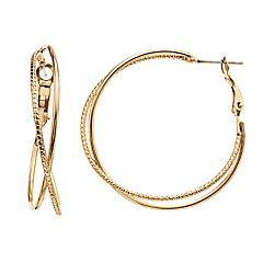 LC Lauren Conrad Gold Tone Textured Criss Cross Nickel Free Hoop Earrings