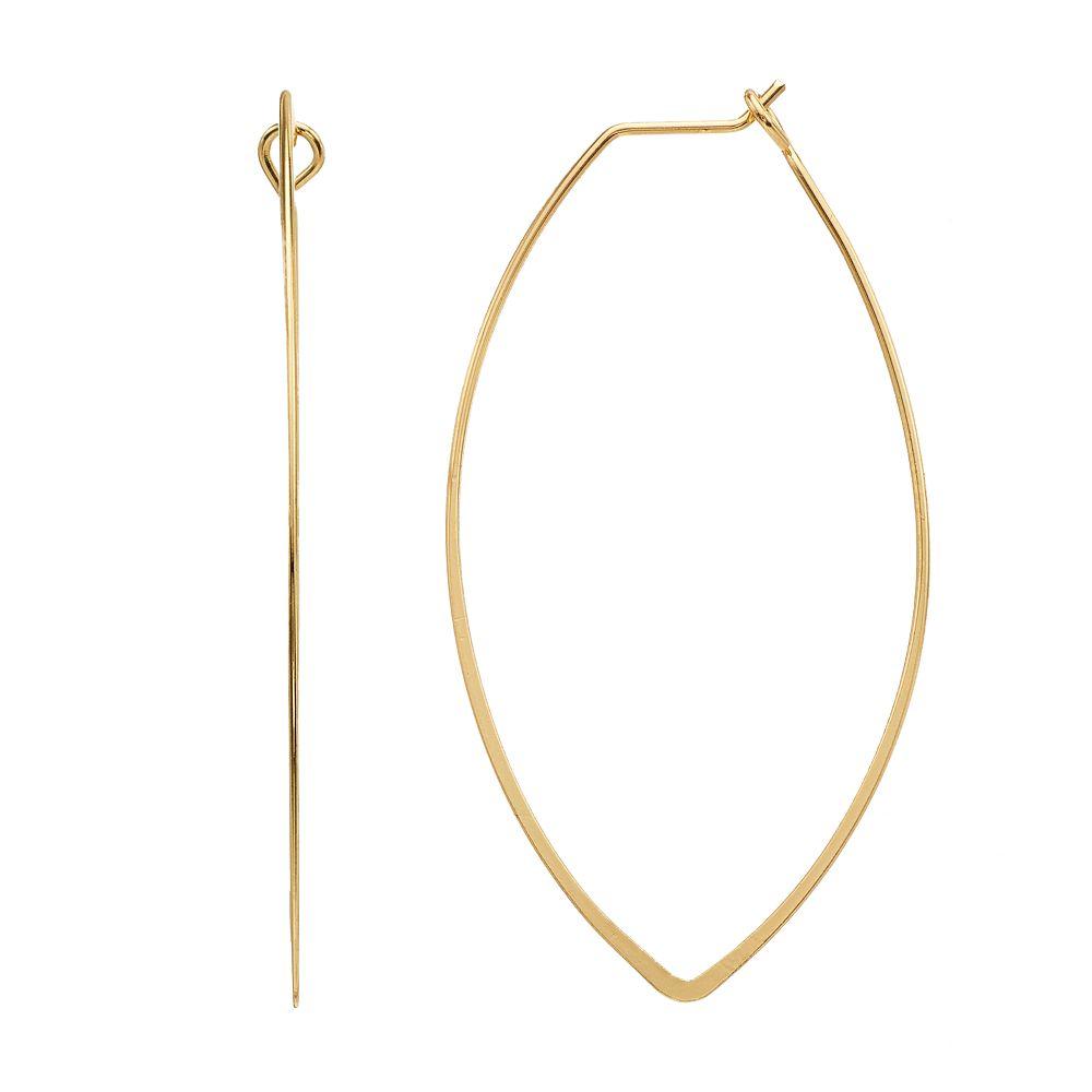 LC Lauren Conrad Gold Tone Marquise Style Nickel Free Hoop Earrings
