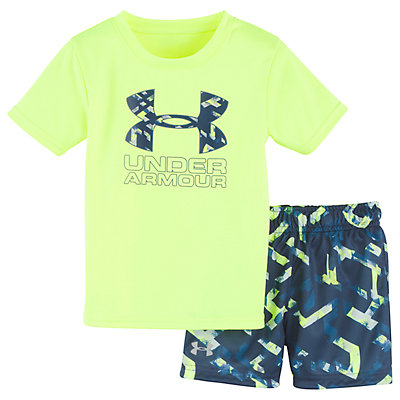 Baby Boy Under Armour Big Logo Graphic Tee & Abstract Shorts Set