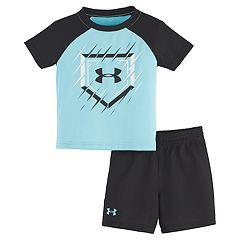 Baby Boy Under Armour Raglan Tee & Shorts Set