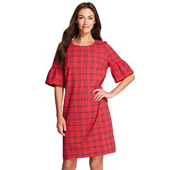 Women's IZOD Plaid Bell-Sleeve Shift Dress