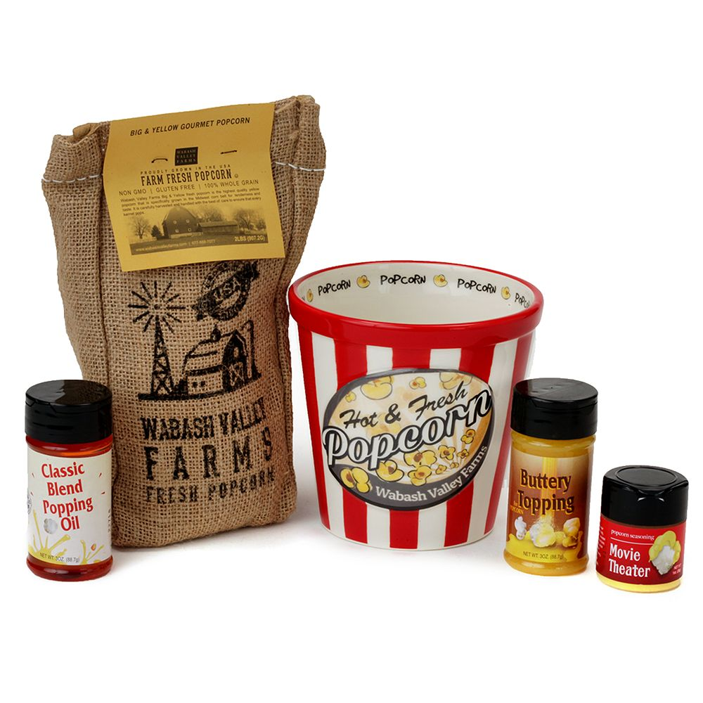 Wabash Valley Farms Ceramic Red & White Striped Popcorn Bowl Gift Set
